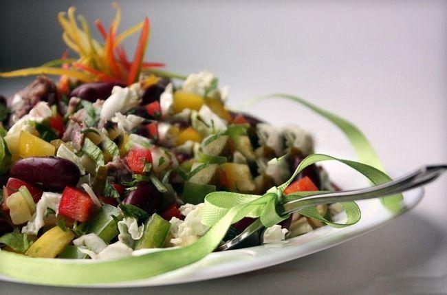 Постный салат с телятиной