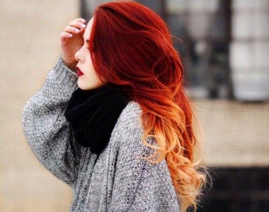 Омбре на рыжие волосы – длинные и короткие. Рыжее омбре на русые, каштановые и другие цвета волос