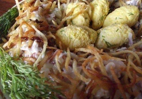 Салат Гнездо глухаря: пошаговый рецепт