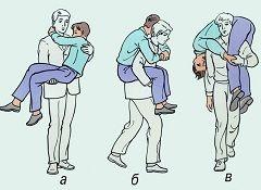 Способы транспортировки пострадавшего, когда помощь оказывает один человек