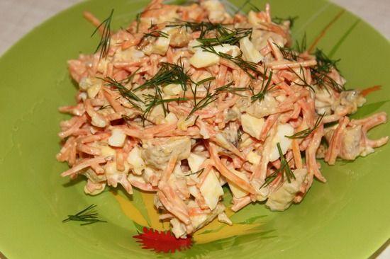 Корейская морковь, курица, грибы - салат
