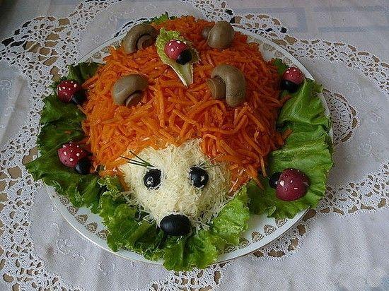 Салат «Ежик» с корейской морковью